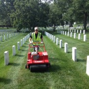 Classen PowerSteer™ Aerator aerating at Arlington Cemetary