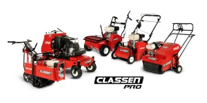 The new Classen PRO Line includes (left to right): PRO Sod Cutter, Stand-Aer® Stand-on Aerator, Hydro-drive Overseeder, Hydro-drive Turf Rake and PowerSteer™ Walk-behind Aerator.