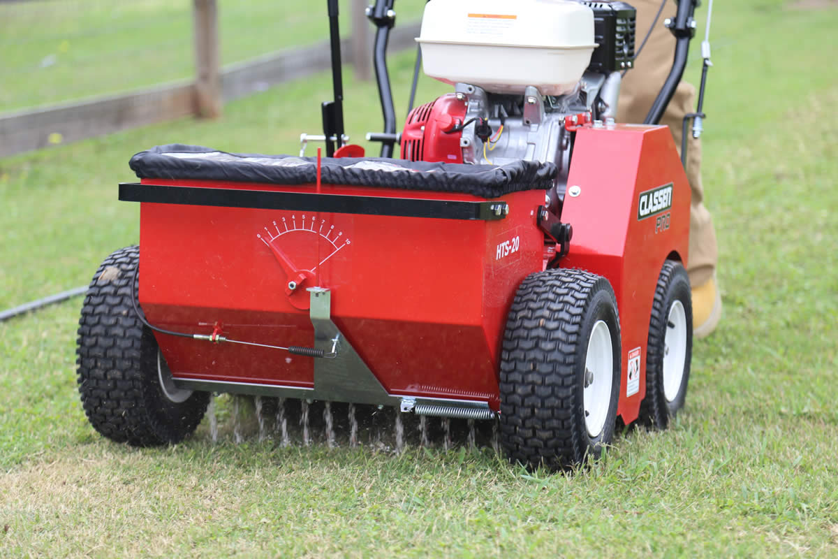 HTS20 Hydro Overseeder closeup on lawn